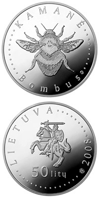 Image of 50 litas coin – Humble-bee  | Lithuania 2008.  The Silver coin is of Proof quality.