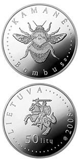 50 litas coin Humble-bee  | Lithuania 2008