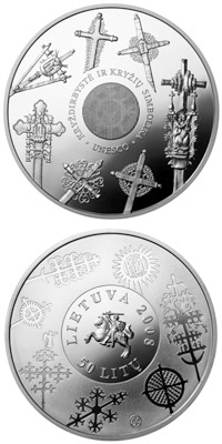 Image of 50 litas coin - Cross crafting  | Lithuania 2008.  The Silver coin is of Proof quality.