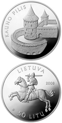 Image of 50 litas coin - Kaunas castle  | Lithuania 2008.  The Silver coin is of Proof quality.