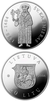 Image of 50 litas coin - St. Casimir  | Lithuania 2008.  The Silver coin is of Proof quality.