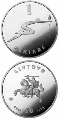 Image of 50 litas coin - Beijing Olympic games  | Lithuania 2007.  The Silver coin is of Proof quality.