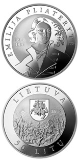 50 litas coin 200th Birth Anniversary of its heroine Emilija Pliateryte  | Lithuania 2006