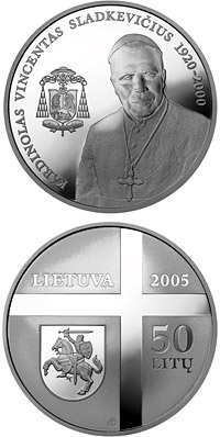 Image of 50 litas coin - Cardinal Vincentas Sladkevicius (1920–2000)  | Lithuania 2005.  The Silver coin is of Proof quality.