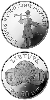 Image of 50 litas coin – 150th anniversary of the National Museum of Lithuania  | Lithuania 2005.  The Silver coin is of Proof quality.