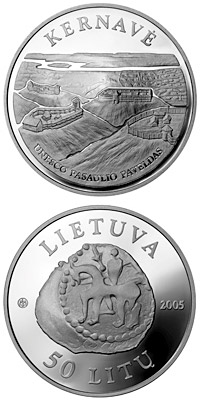 Image of 50 litas coin - Kernave  | Lithuania 2005.  The Silver coin is of Proof quality.