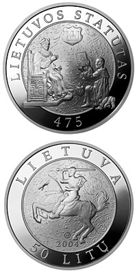 Image of 50 litas coin - 475th Anniversary of the First Statute of Lithuania  | Lithuania 2004.  The Silver coin is of Proof quality.