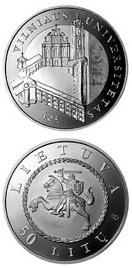 50 litas 425th anniversary of Vilnius University  - 2004 - Series: Silver 50 litas coins - Lithuania