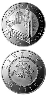 50 litas coin 425th anniversary of Vilnius University  | Lithuania 2004