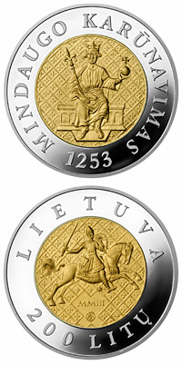 200 litas 750th anniversary of the crowning of Mindaugas  - 2003 - Series: Gold coins - Lithuania