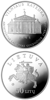 Image of 50 litas coin Vilnius Cathedral  | Lithuania 2003.  The Silver coin is of Proof quality.