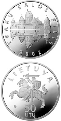 Image of Trakai Island Castle – 50 litas coin Lithuania 2002.  The Silver coin is of Proof quality.