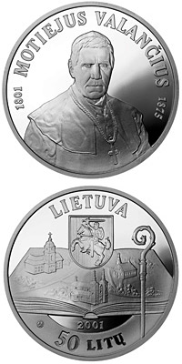 Image of 50 litas coin - 200th birth Anniversary of Motiejus Valančius (1801-1875)  | Lithuania 2001.  The Silver coin is of Proof quality.