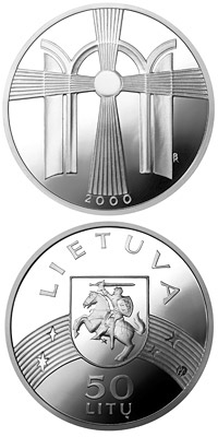 Image of 50 litas coin - New Millennium  | Lithuania 2000.  The Silver coin is of Proof quality.