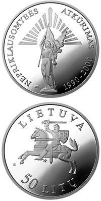 Image of a coin 50 litas | Lithuania | 10th Anniversary of the reestablishment of Independence  | 2000