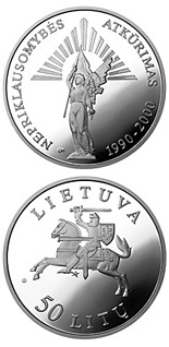 50 litas coin 10th Anniversary of the reestablishment of Independence  | Lithuania 2000