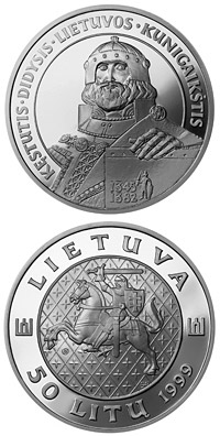 Image of 50 litas coin - Kęstutis, the Grand Duke of Lithuania | Lithuania 1999.  The Silver coin is of Proof quality.