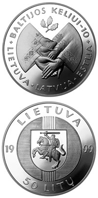 Image of 50 litas coin - 10th Anniversary of the Baltic Way  | Lithuania 1999.  The Silver coin is of Proof quality.