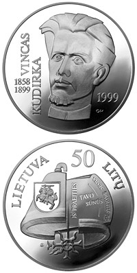 Image of 50 litas coin - Vincas Kudirka (1858-1899)  | Lithuania 1999.  The Silver coin is of Proof quality.