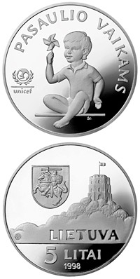 Image of 5 litas coin - Children of the World  | Lithuania 1998