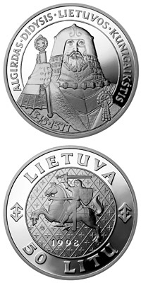 Image of 50 litas coin - Algirdas, the Grand Duke of Lithuania | Lithuania 1998.  The Silver coin is of Proof quality.