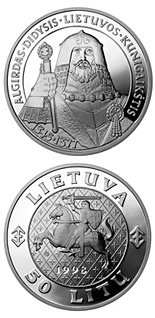 50 litas coin Algirdas, the Grand Duke of Lithuania | Lithuania 1998