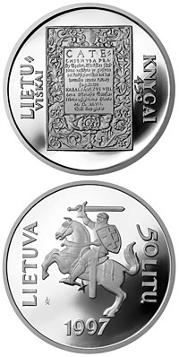 Image of 50 litas coin - 450th Anniversary of the first Lithuanian book  | Lithuania 1997.  The Silver coin is of Proof quality.