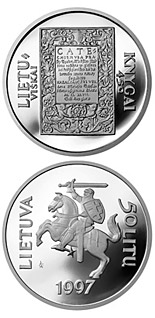 50 litas coin 450th Anniversary of the first Lithuanian book  | Lithuania 1997