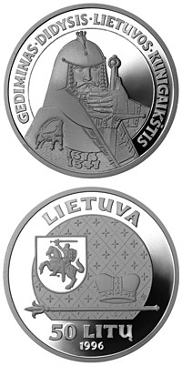 Image of 50 litas coin - Gediminas, the Grand Duke of Lithuania | Lithuania 1996.  The Silver coin is of Proof quality.