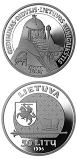 50 litas coin Gediminas, the Grand Duke of Lithuania | Lithuania 1996