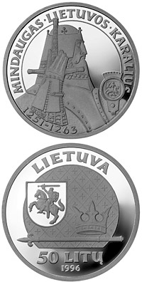 Image of 50 litas coin – Mindaugas, the King of Lithuania | Lithuania 1996.  The Silver coin is of Proof quality.
