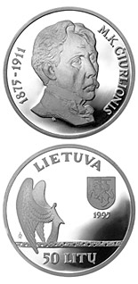 50 litas coin 120th birth Anniversary of Mikalojus Konstantinas Ciurlionis  | Lithuania 1995