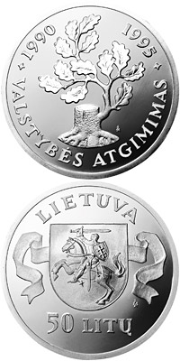 Image of 50 litas coin – 5th Anniversary of the reestablishment of the Republic of the Lithuania  | Lithuania 1995.  The Silver coin is of Proof quality.