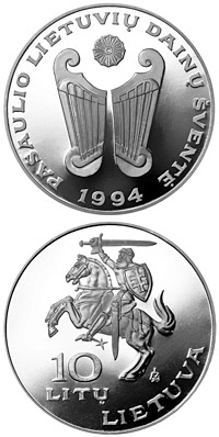 Image of 10 litas coin - World Lithuanians Song Festival  | Lithuania 1994