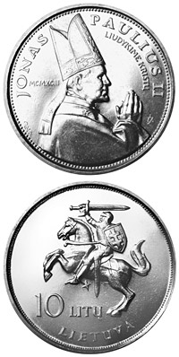 Image of 10 litas coin - The Visit of Pope John Paul II to Lithuania  | Lithuania 1993