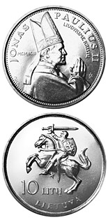 10 litas coin The Visit of Pope John Paul II to Lithuania  | Lithuania 1993
