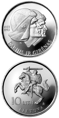 Image of 10 litas coin - 60th Anniversary of the flight across the Atlantic of Steponas Darius and Stasys Girenas  | Lithuania 1993