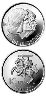 10 litas coin 60th Anniversary of the flight across the Atlantic of Steponas Darius and Stasys Girenas  | Lithuania 1993