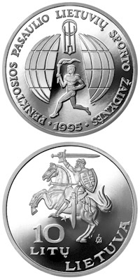 Image of 10 litas coin - 5th World Lithuanians Sport Games  | Lithuania 1995