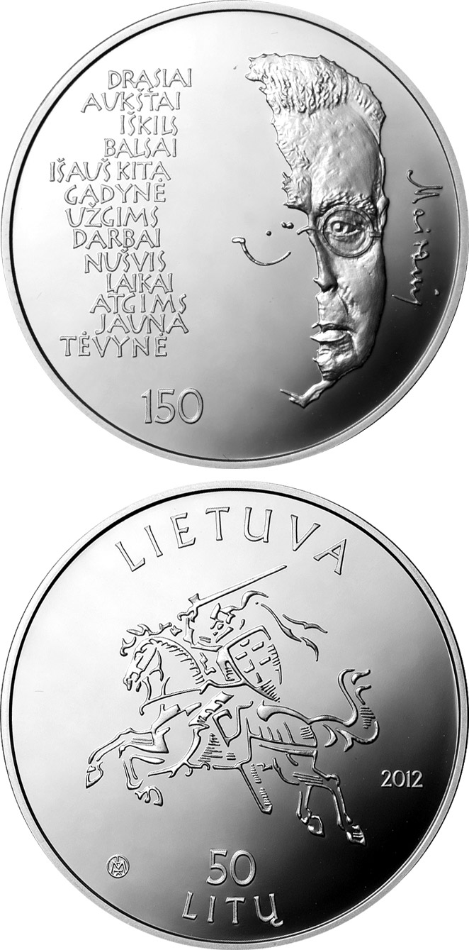 Image of a coin 50 litas | Lithuania | 150th Anniversary of the Birth of Maironis  | 2012