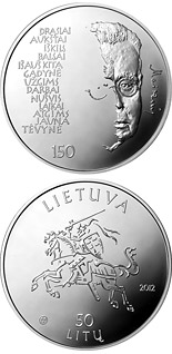 50 litas coin 150th Anniversary of the Birth of Maironis  | Lithuania 2012