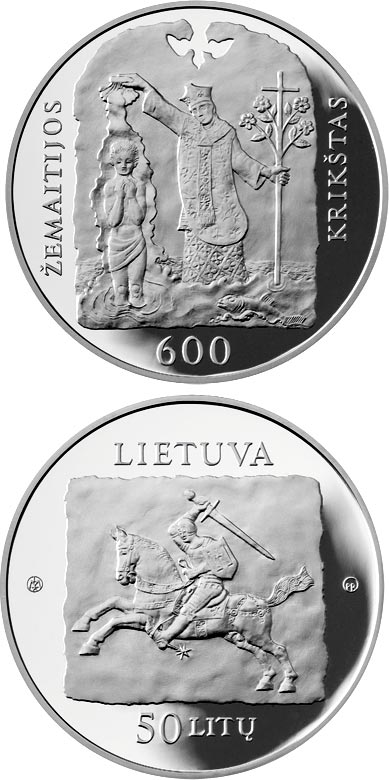 Image of 600th anniversary of the christening of Samogitia – 50 litas coin Lithuania 2013.  The Silver coin is of Proof quality.