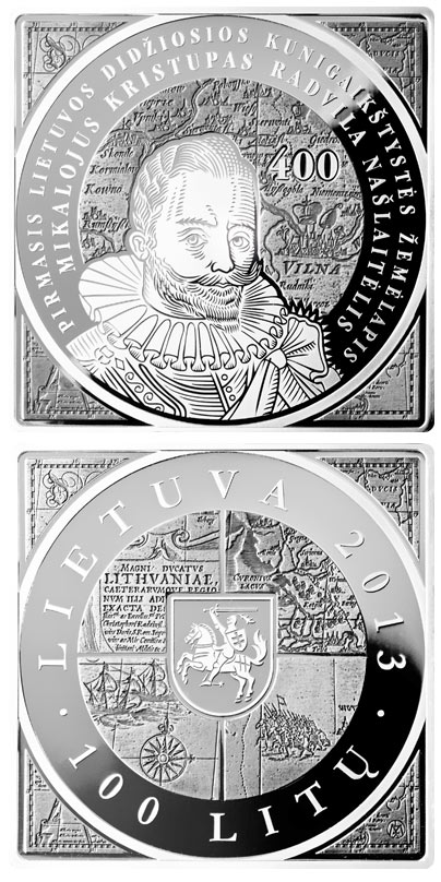 Image of 100 litas coin - 400th Anniversary of the Issuance of the first map of the Grand Duchy of Lithuania  | Lithuania 2013.  The Silver coin is of Proof quality.