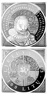 100 litas coin 400th Anniversary of the Issuance of the first map of the Grand Duchy of Lithuania  | Lithuania 2013