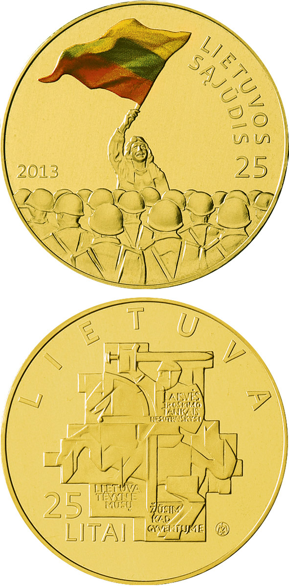 Image of a coin 25 litas | Lithuania | 25th anniversary of the establishment of the Lithuanian Sąjūdis | 2013