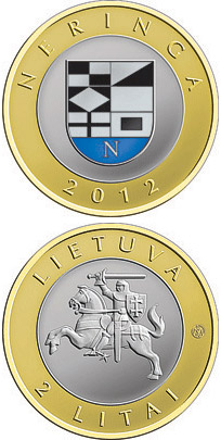 Image of 2 litas coin Neringa | Lithuania 2012.  The Bimetal: CuNi, nordic gold coin is of Proof, UNC quality.