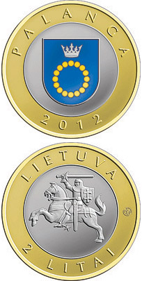 Image of 2 litas coin - Palanga | Lithuania 2012.  The Bimetal: CuNi, nordic gold coin is of Proof, UNC quality.