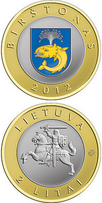 Image of Birštonas – 2 litas coin Lithuania 2012.  The Bimetal: CuNi, nordic gold coin is of Proof, UNC quality.