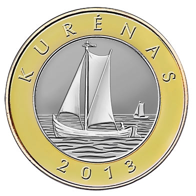 Image of 2 litas coin - Kurenas | Lithuania 2013.  The Bimetal: CuNi, nordic gold coin is of Proof, UNC quality.