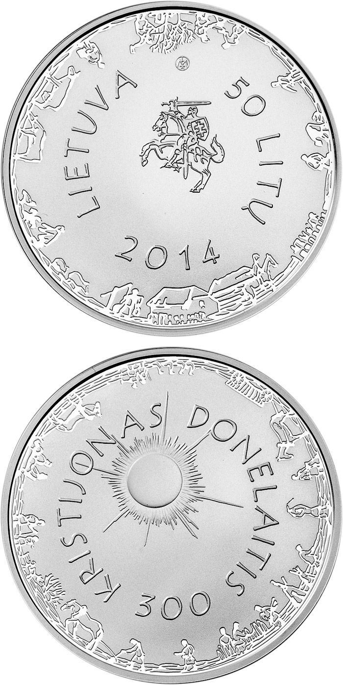50 litas 300th Anniversary of the Birth of Kristijonas Donelaitis - 2014 - Series: Silver 50 litas coins - Lithuania